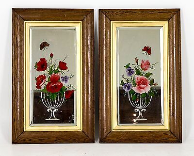 B365 Pair of Antique Victorian Bevelled Hand Painted Oak Framed Mirrors