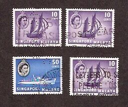 SINGAPORE 1955 SHIPS DEFINITIVES with PERFINS