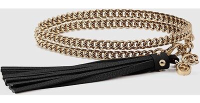 NWT Gucci Women's Silver Chain Belt With black Tassel Buckle