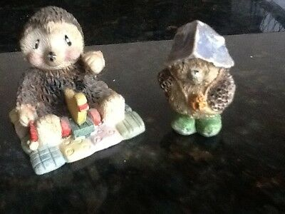 Hedgehog youngsters, pottery Figurines X 2