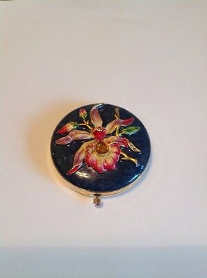 Jay Strongwater Estee Lauder Compact Exotic Orchid Swarovski Empty