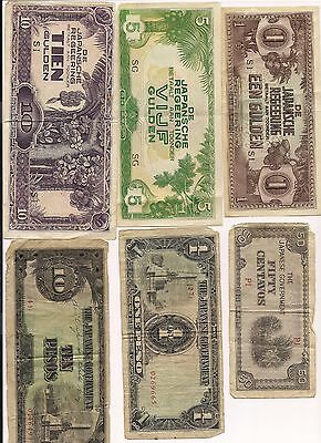 8 Japanese Occupation Wwii Currency Philippine- Netherlands- Military- Yen