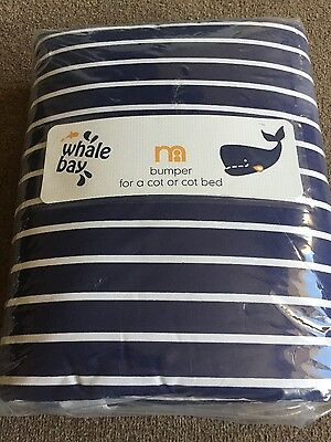 NEW Mothercare Whale Bay range bumper for cot/cot bed
