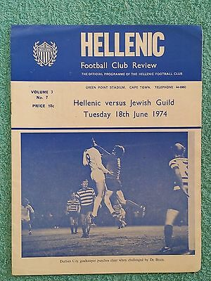 1974 - HELLENIC v JEWISH GUILD PROGRAMME - JEFF ASTLE & BOBBY MOORE IN LINEUP
