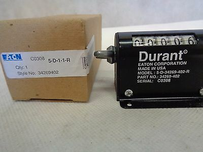 New Eaton/durant 5-D-1-1-R Mechanical Counter 5 Digit 34269402