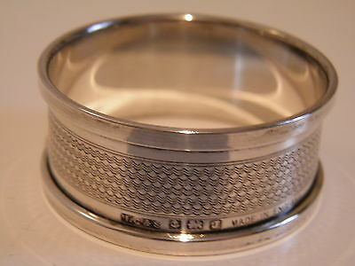 Vintage - Solid Silver - Engine Turned Circular Napkin Ring By Henry Griffith.