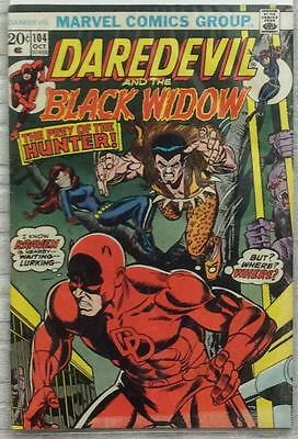 Daredevil #104 (1973 Marvel) Bronze Age GD/VG condition. Black Widow.