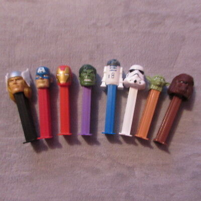 8 x Pez Dispensers Including Avengers & Star Wars