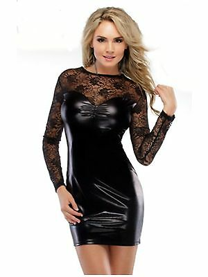 Faux PVC and Lace Dress with matching Thong Size 8 10 BNWT