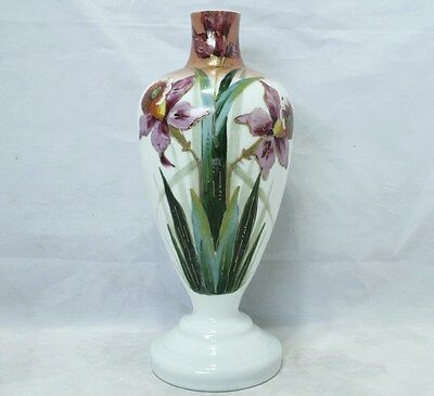 Large Early Vintage Milk Glass Vase - Hand Painted Florals