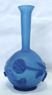 Vintage Studio Art Glass Bud Vase - Cloudy Blue With Applied Florals