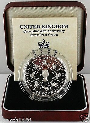 1993 Queen's Coronation 40th Anniversary Silver Proof Crown, COA, Royal Mint Box