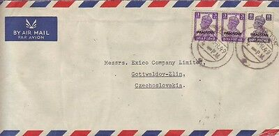 Pakistan,India1949,airmail cover to Zlin