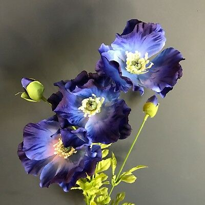 Stem of 3 blue faux silk poppies artificial wild meadow poppy stem of 3 blue faux silk poppies artificial wild meadow poppy flowers mightylinksfo