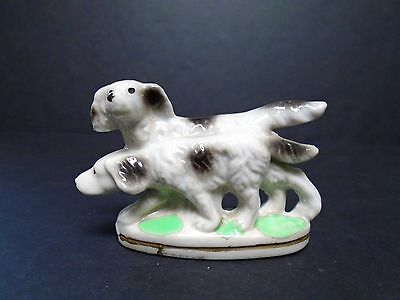 "Vntg. Japan Setter Bird Dogs Porcelain Figurine 2.5"" Tall 4"" Long VG Vntg. Cond."
