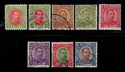 Iceland Stamps 1920-22 King Christian X Sc# 108-109;111;115;117;122;126 Used