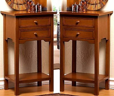 Set of Two ** NATURAL WOOD  END SIDE NIGHT STAND TABLES 2 DRAWERS & SHELF * NIB