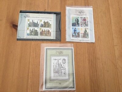 Set 3 Mini Sheets of London International Stamp Exhibition - Mint Condition 1980