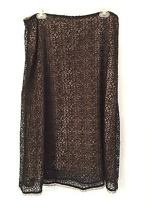 Cato Women's Black Lace & Gold Lined Skirt Size 12
