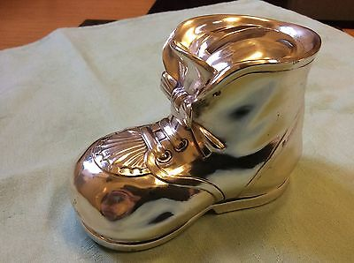 Silver plated baby boot money box