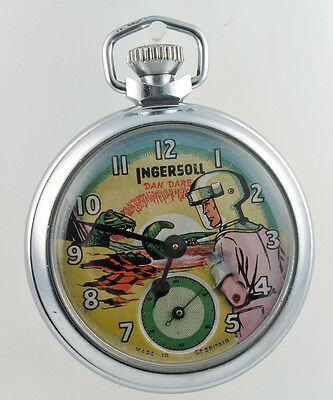-Vintage- Ingersoll Dan Dare Chromium Cased Gents Mens Eagle Comic Pocket Watch