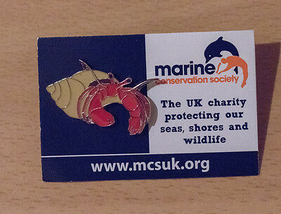 Not RSPB pin badge MARINE CONSERVATION Hermit Crab