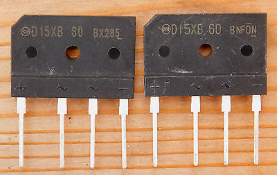 (2) 600V 15Amp Compact Inline Bridge Rectifiers D15XB60 - Fast USA Shipping