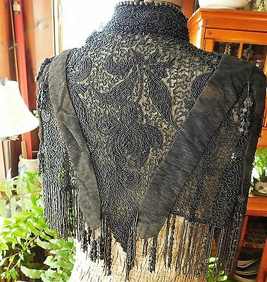 1800'S Victorian Mourning Cape Mantle *JET* beads fringe & tassels