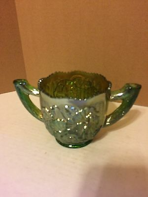 Imperial Green Pansy Carnival Glass Sugar Bowl