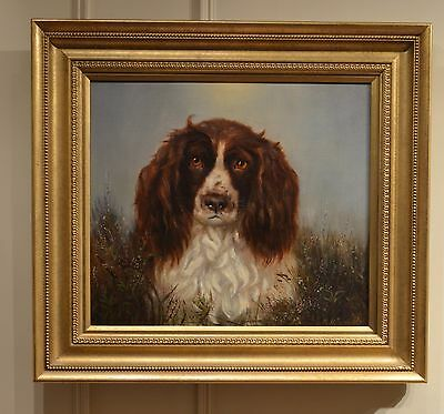 Superb 19th Century Oil on canvas of Spaniel signed M H Shaw