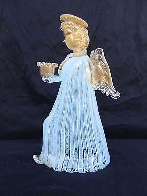 VIntage Murano Venetian Art Glass Angel Candlestick Holder Latticino Aventurine