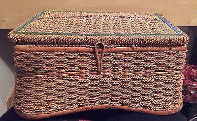 Vintage Woven Rope Sewing Basket Box