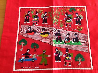 Hmong Story Cloth Tapestry Embroidery Crossing Mekong River Laos-Thailand 1970s