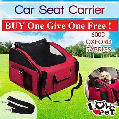 Pet Carrier Dog Cat Car Booster Seat Soft Crate Portable Cage Travel Bag Red