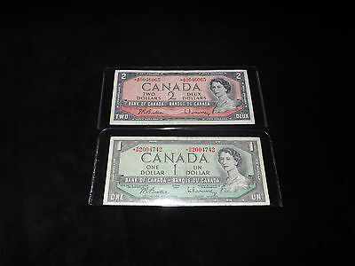 Bank Of Canada 1954 $2.00 & $1.00 Replacement Notes