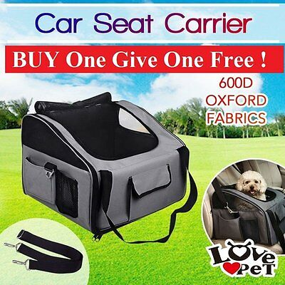 Pet Carrier Dog Cat Car Booster Seat Soft Crate Portable Travel Bag Grey