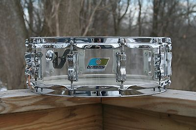 "Ludwig Vistalite 5""x 14"" Clear Snare Drum. 1970's 10 Lug. Excellent Condition."