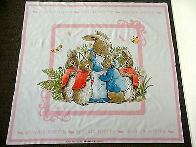 Peter Rabbit Beatrix Potter Fabric Panel Quilting Nursery XL Cot Panel MARKED
