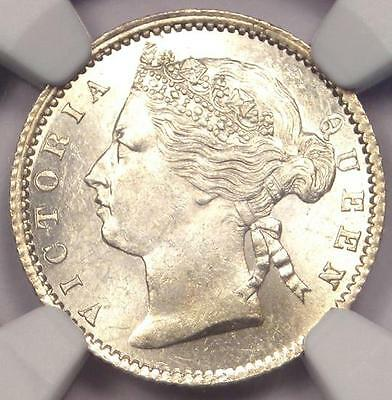 1871 Straits Settlements Victoria 10C Coin - NGC MS63 (BU UNC) - Rare Coin!