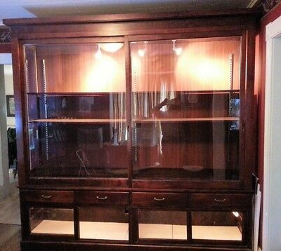 Antique Lighted Glass Display General Store Cabinet Showcase Mahogany