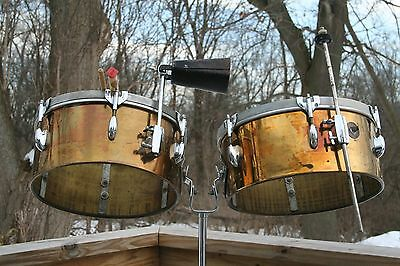 "Gretsch Round Badge Vintage Timbales & Stand. 13""/ 14"" Brass Players with Mojo."