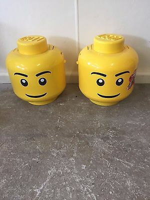 2 x Lego Head Storage Containers