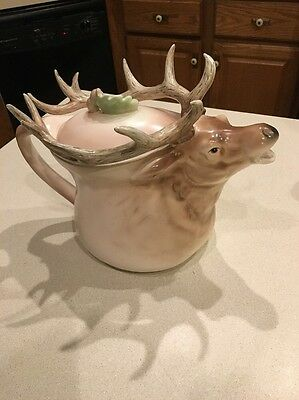Extremely Rare Stag Dept. 56 Hand Painted Japan deer antlers Coffee Pot With Lid