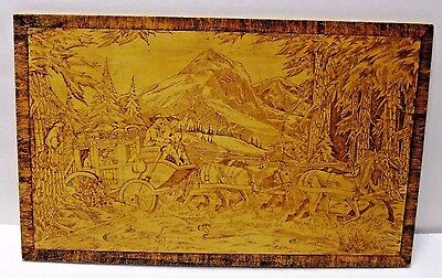 Rare 30-40's Wood Pyrography Art Panel Overland Stage Harry Ungar Dibble Studios