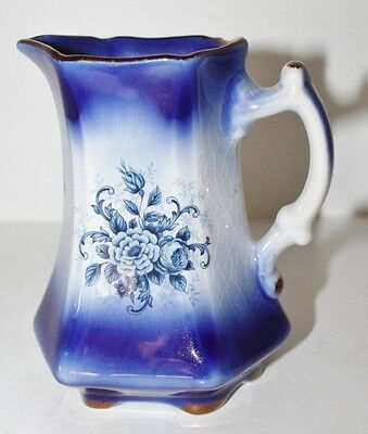 "VTG Staffordshire Mayfayre Milk Cream Pitcher, Blue and White England - 6"" Tall"