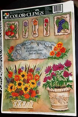 """Color Clings Garden Theme Window Clings Two 12"""" x 17"""" Sheets 2001 by Paper Magic"""