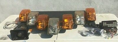 federal signal vision light bar halogen led new amber domes complete  working #!