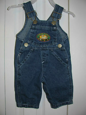 John Deere Baby Bib Overall Blue Denim Unisex Jordan Lee Originals sz 3 month