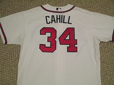 Trevor Cahill size 54 #34 2015 Braves home white game used issued jersey MLB