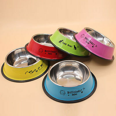 "6"" Stainless Steel Anti-skid Pet Dog Cat Food Water Bowl Feeder"